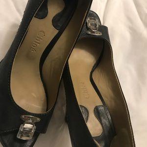 Chloe black peep toe heels